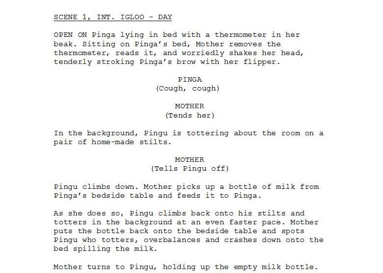 writing a short animation script boards
