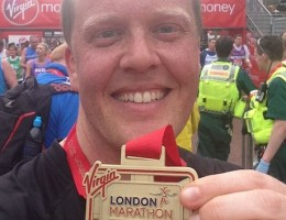 Olly Smith finishes the London Marathon